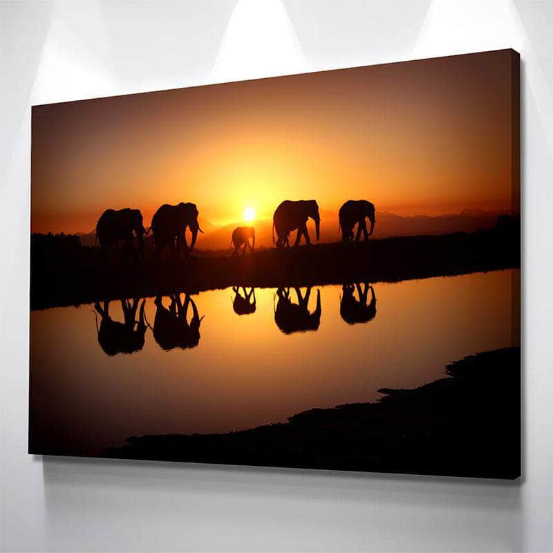Elephants Crossing Canvas Set