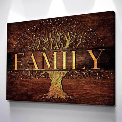 Golden Family Tree Canvas Set