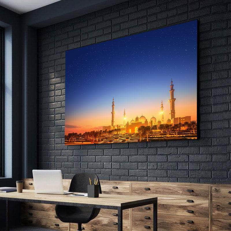 Sheikh Zayed Grand Mosque At Dusk Canvas Set