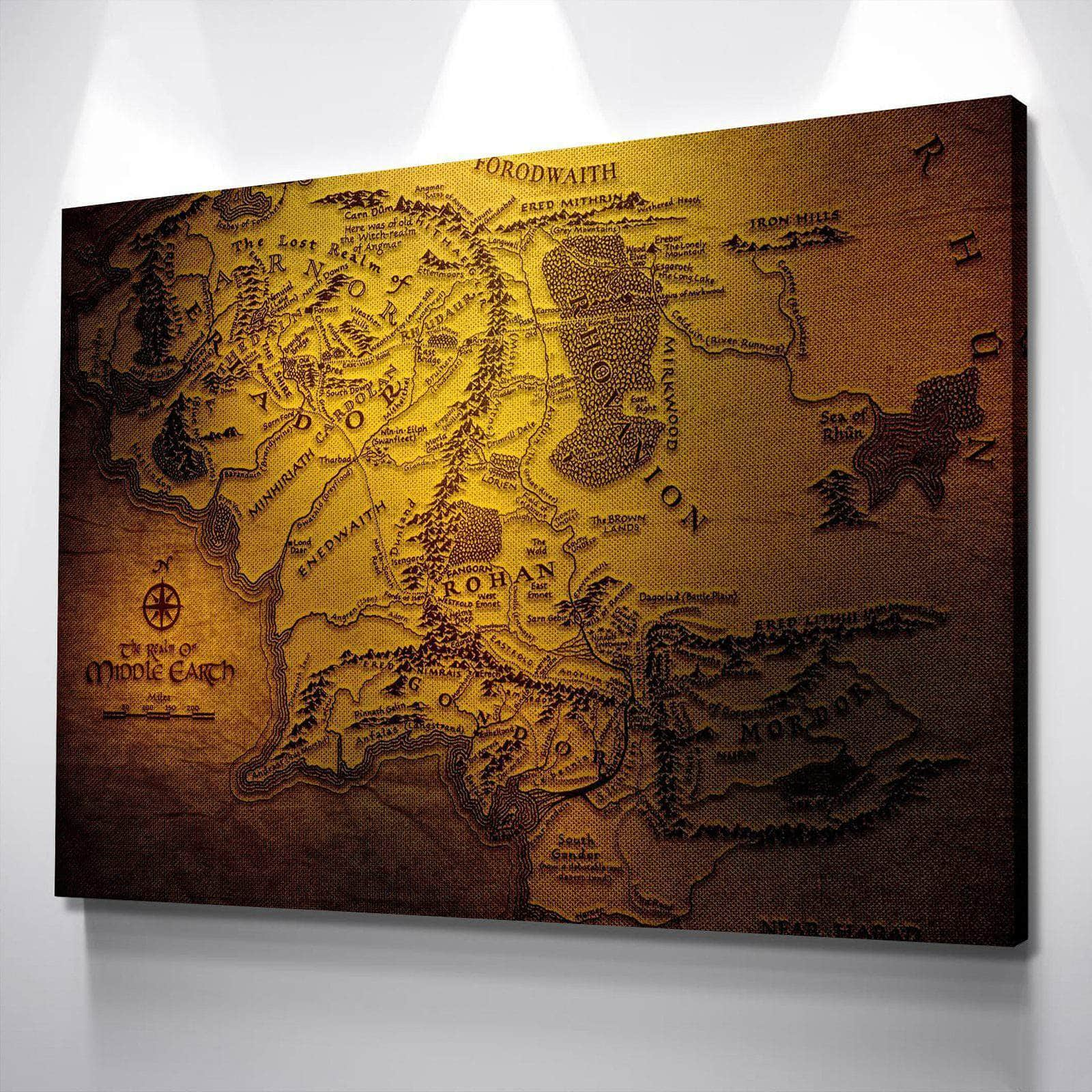 Map of Middle Earth Canvas Set
