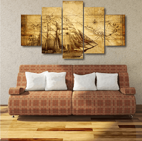 Ancient Navigator 5 Piece Canvas Set