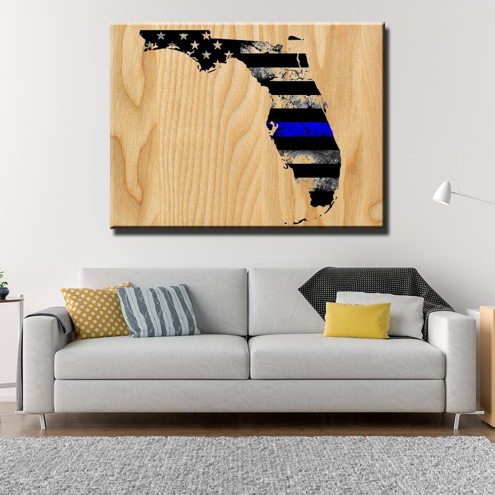Florida Thin Blue Line Wooden Wall Decor - Canvas Freaks