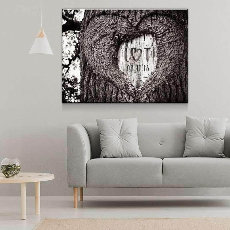 Custom Personalized Carved Love Canvas Set