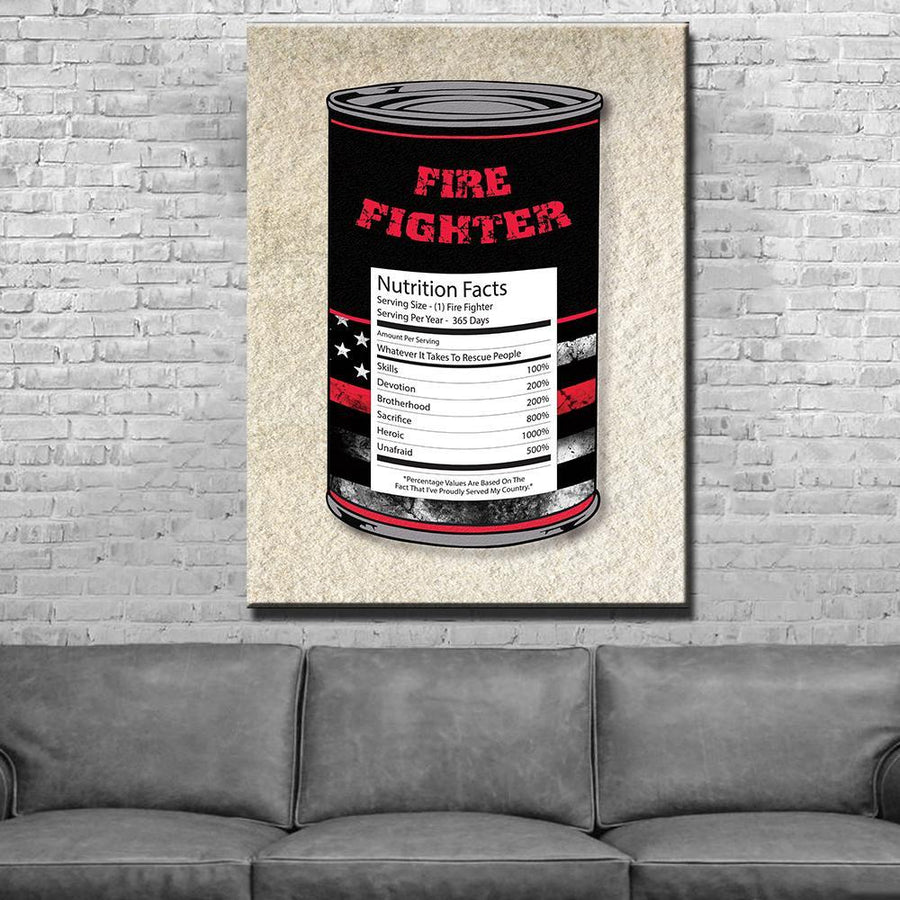 Firefighter Can Nutrition Facts Canvas Set