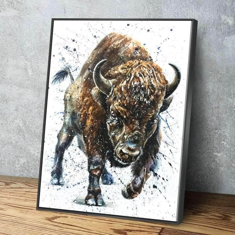 Watercolor Buffalo Canvas Set