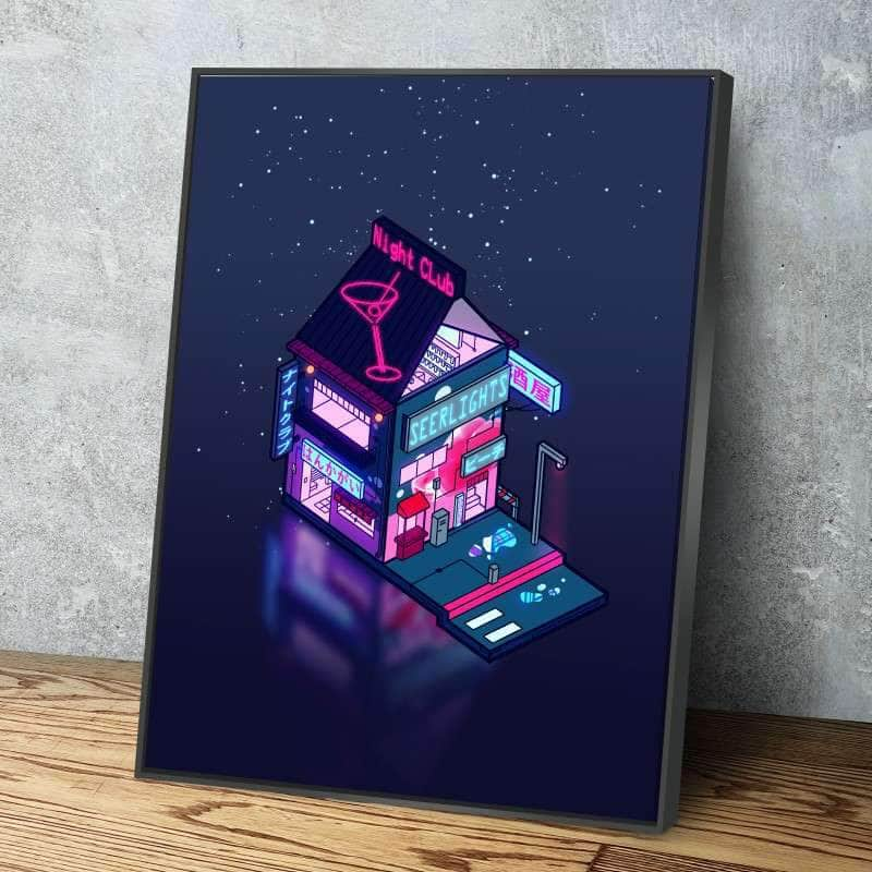Cyberpunk Peach Drink Canvas Set