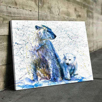 Watercolor Polar Bear Canvas Set