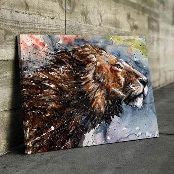 Proud Lion Watercolor Canvas Set