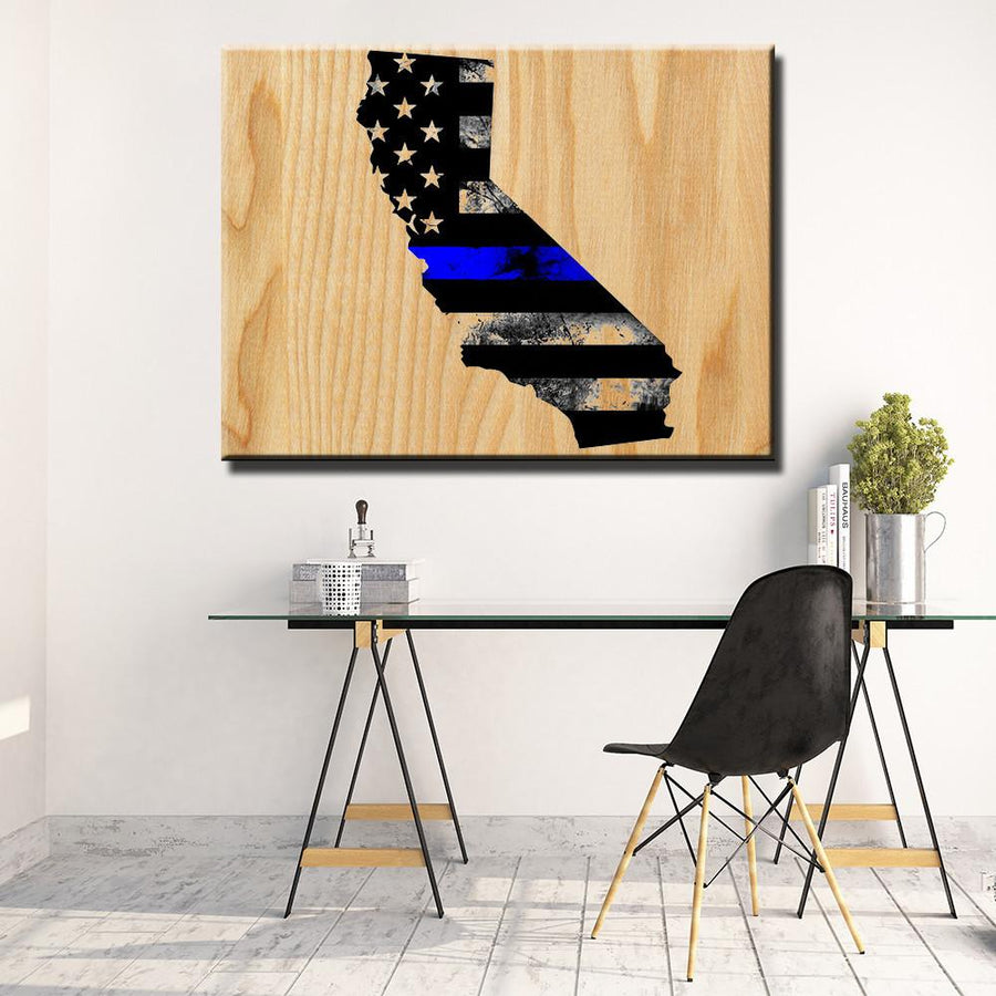 California Thin Blue Line Wooden Wall Decor