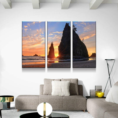 Olympic Beach Sunset Canvas Set