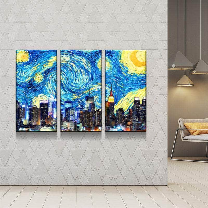 New York Starry Night Canvas Set