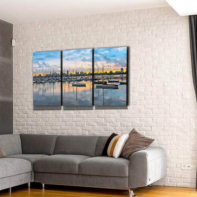 Waterfront Skyline Canvas Set