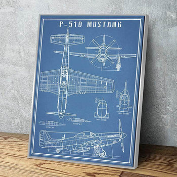 P-51 Mustang Vintage Airplane | Canvas Set