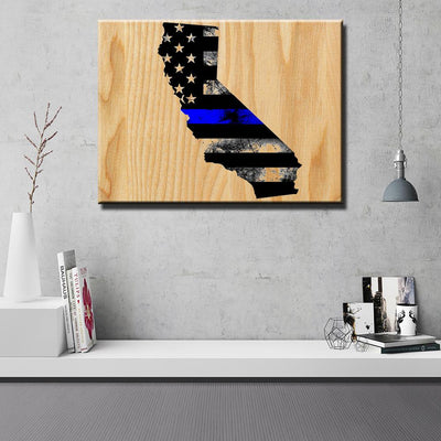 California Thin Blue Line Wooden Wall Decor - Canvas Freaks