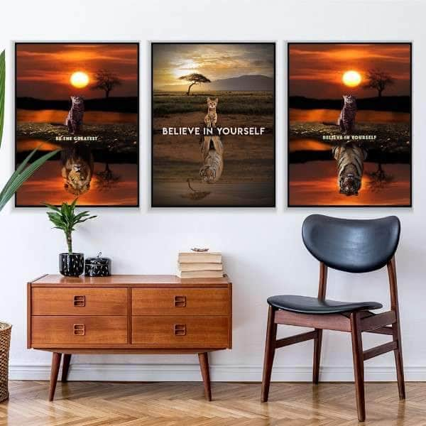 Wild Cats Motivation 3 Piece Bundle Canvas Set
