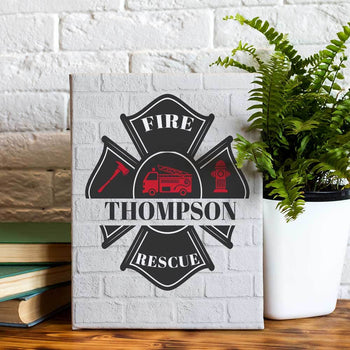 Fire Fighter Plaque Custom Canvas Set