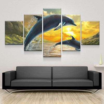 Double Dolphin Dusk Canvas Set