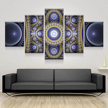 Ornate Blue Fractals Canvas Set
