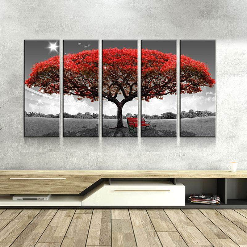 Autumn Red Tree Canvas Set