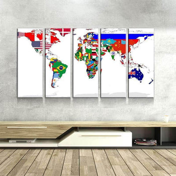 World Map No16 Canvas Set