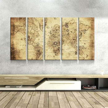 World Map No17 Canvas Set