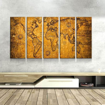World Map No36 Canvas Se