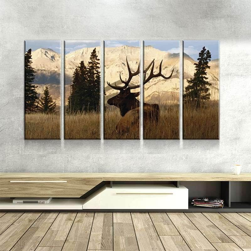Elk in the Woods Canvas Set