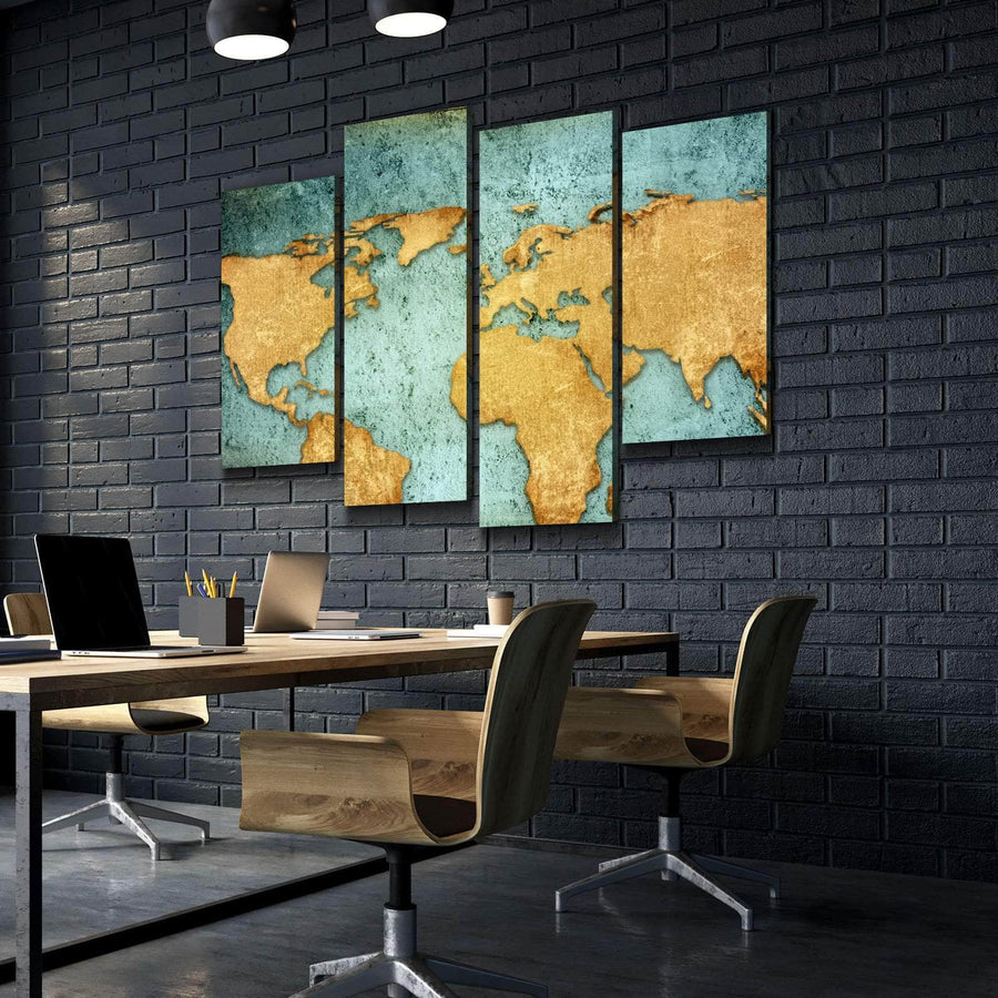 World Map No15 Canvas Set