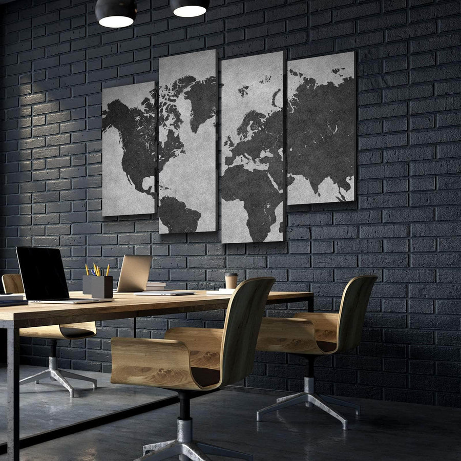 World Map No8 Canvas Set