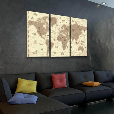 World Map No19 Canvas Set