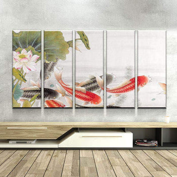 Asian Koi Pond Canvas Set