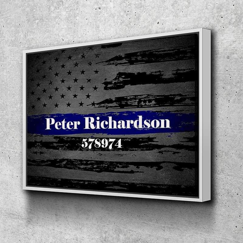 Custom Personalized Thin Blue Line Canvas Set