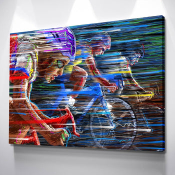 Abstract Cyclist Canvas Set