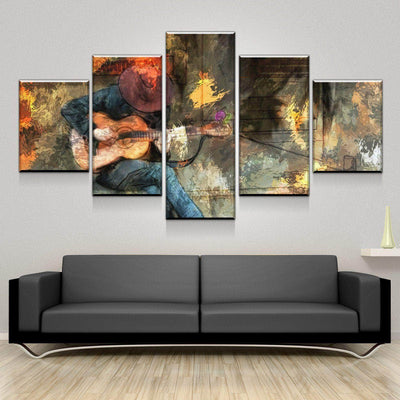 Abstract Guitar Man Canvas Set