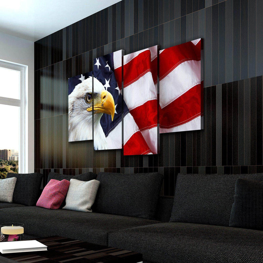 American Flag Eagle Canvas Set