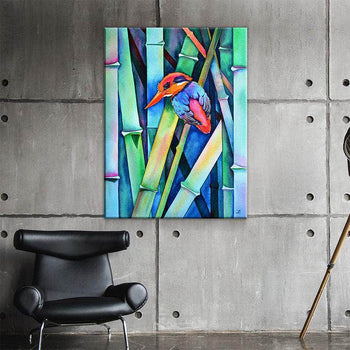 Black-backed Kingfisher on Bamboo Canvas Set