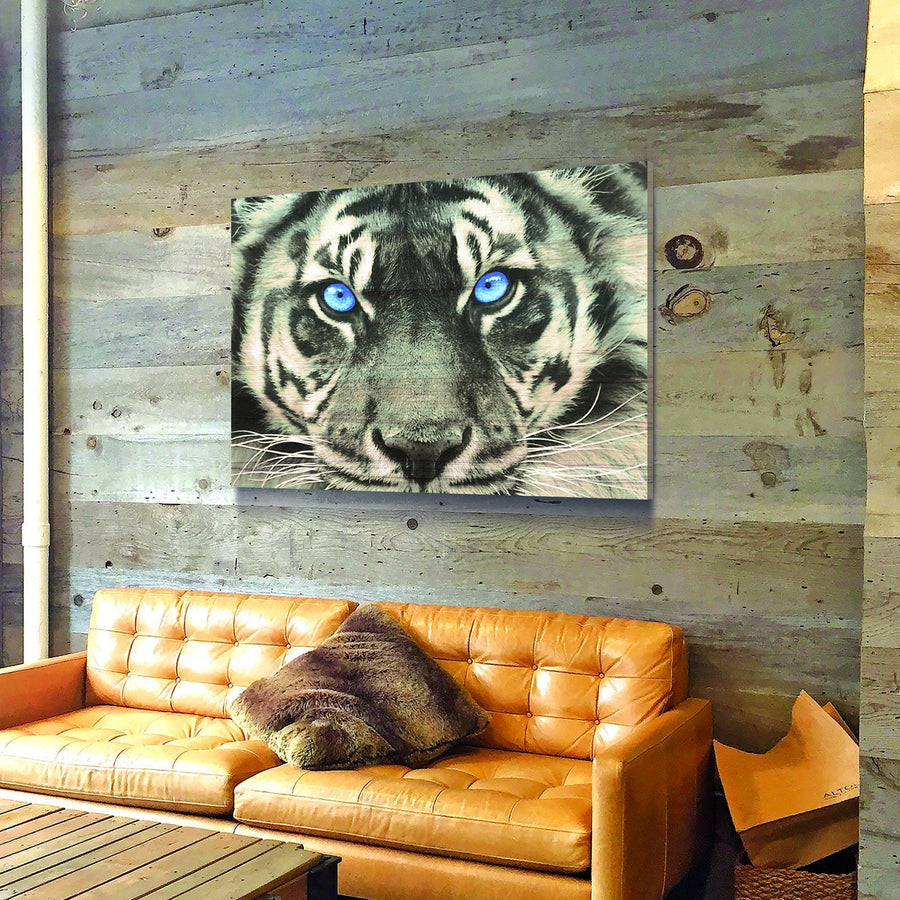 Blue Eyed Tiger Wooden Wall Decor