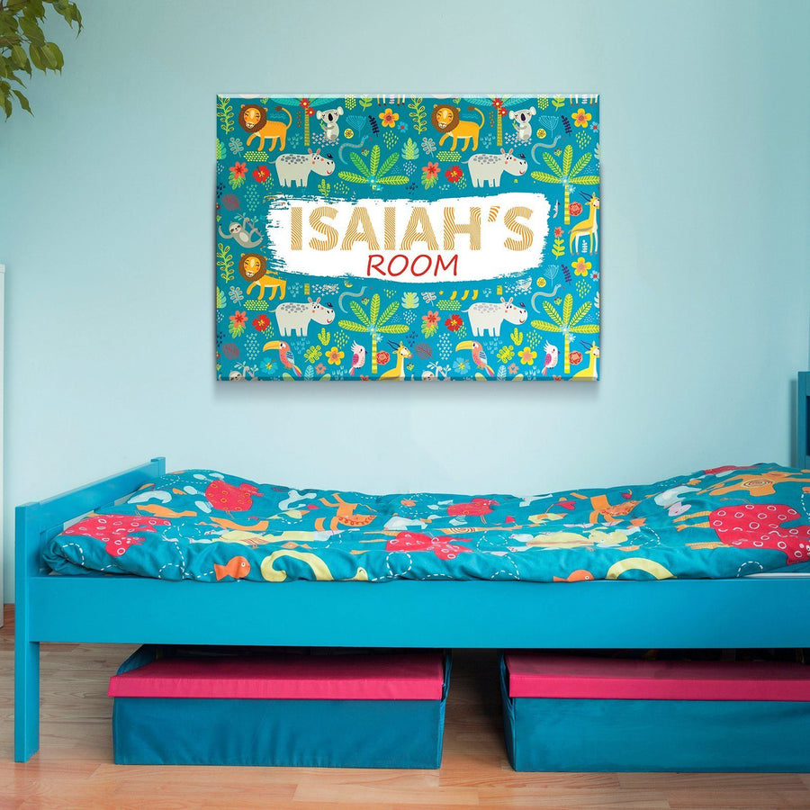 Custom Personalized Boy's Jungle Room Canvas Set