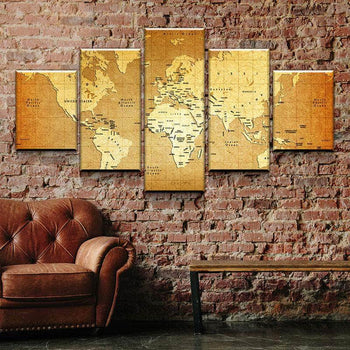 World Map No12 Canvas Set
