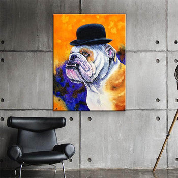 Bulldog in Derby Hat Canvas Set