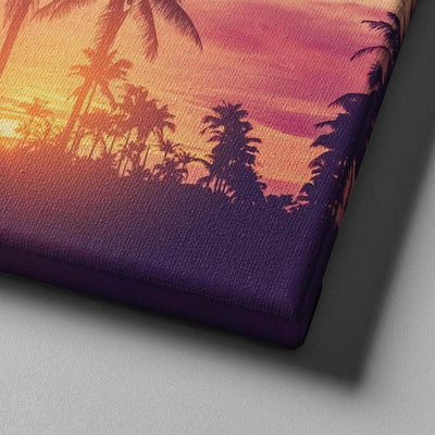 Pink Palms Vertical Canvas Set