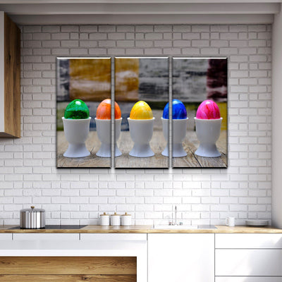 Colored Eggs Kitchen and Dining Room Wall Decor Canvas Set