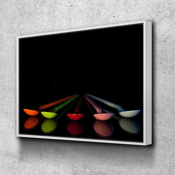 Colorful Spoons Kitchen and Dining Room Wall Decor Canvas Set
