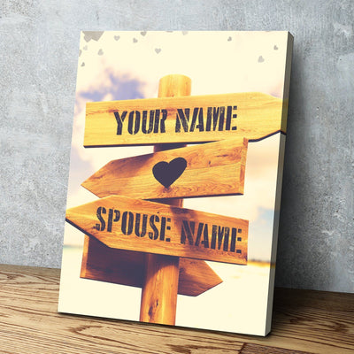 Custom Personalized Direction of Love Canvas Set