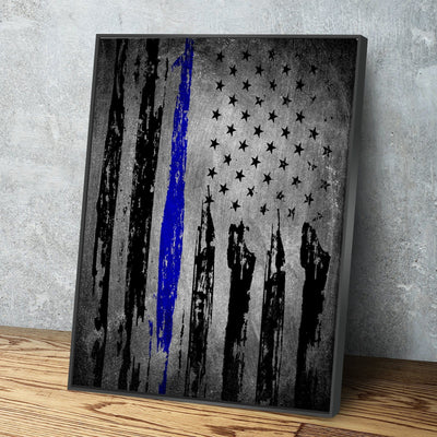 Distressed Thin Blue Line Vertical Canvas Set