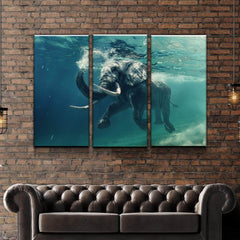 STEVE BLOOM ELEPHANT SWIMMING POSTER 34x22 NEW FAST FREE SHIPPING