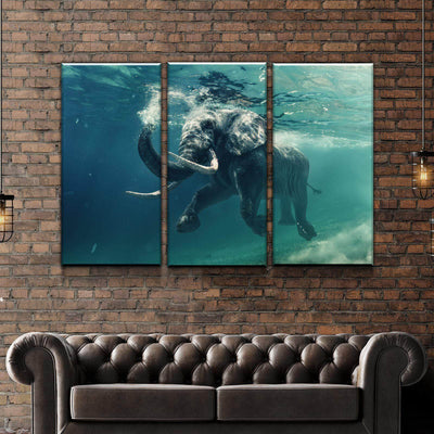 Elephant Swimming Canvas Set