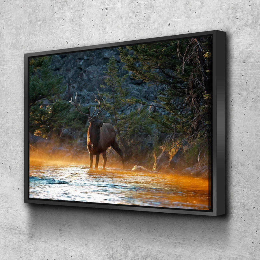 Elk By The Water Canvas Set