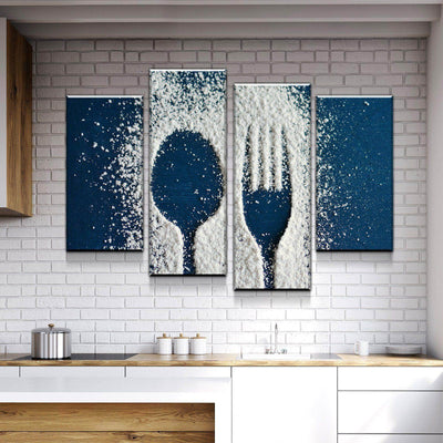 Flour Utensils Kitchen and Dining Room Wall Decor Canvas Set
