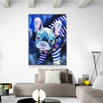 Frenchie in Breton Shirt Canvas Set